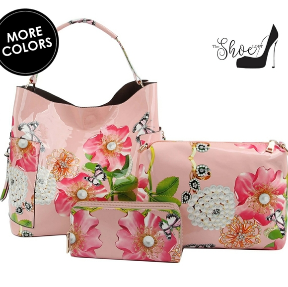 My Bag Lady Online Handbags - Patent leather Butterfly Flower Pearl Tote Set